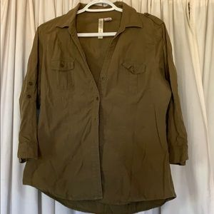 Army green button shirt